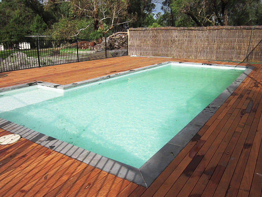 Pool with timber decking